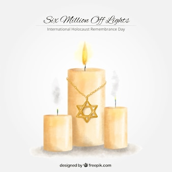 Jour de commémoration de l'holocauste, peint à la main des bougies