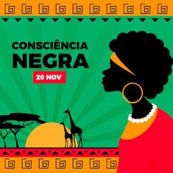Jour de la consiencia negra design plat
