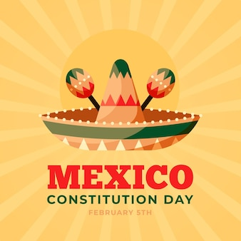 Jour de la constitution du mexique design plat