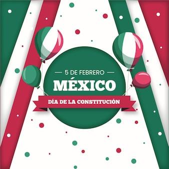 Jour De La Constitution Du Mexique Design Plat Vecteur gratuit
