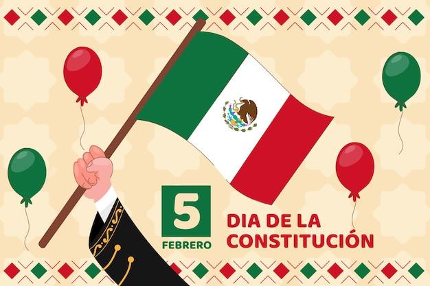 Jour de la constitution du mexique drapeau dessiné à la main