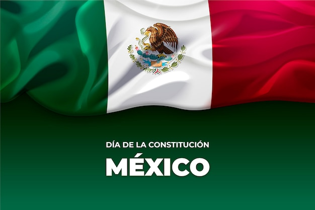 Jour de la constitution du mexique avec drapeau