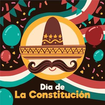Jour de la constitution du mexique sombrero dessiné à la main