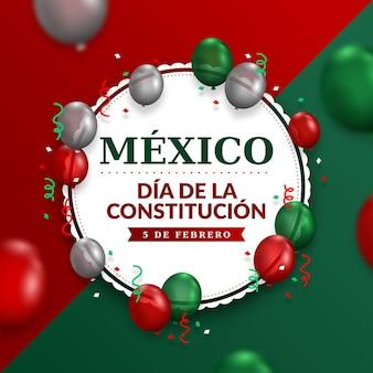 Jour de la constitution avec fond de ballons réalistes