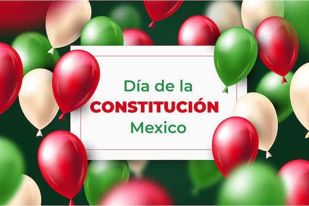 Jour de la constitution avec fond d'écran ballons réalistes
