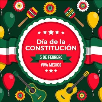 Jour de la constitution mexicaine dessiné à la main avec différents éléments