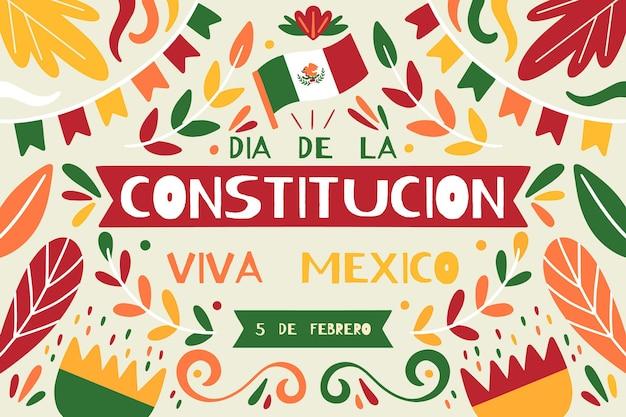 Jour de la constitution mexicaine dessiné à la main