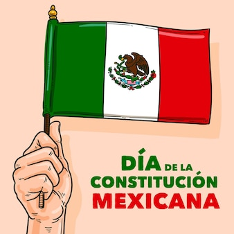 Jour de la constitution mexicaine dessiné à la main