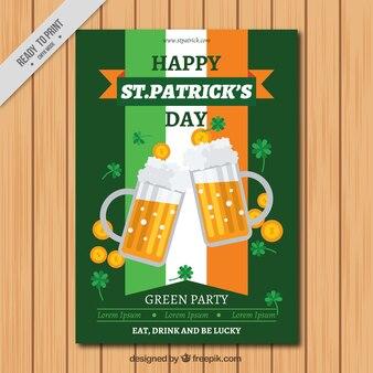 Jour le dépliant de st patrick avec drapeau et bières irlandaises