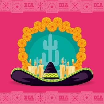 Jour du chapeau mexicain de la fête morte