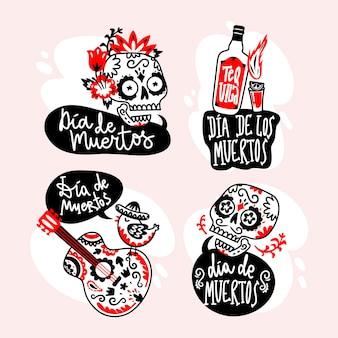 Jour du design plat de la collection de badges morts