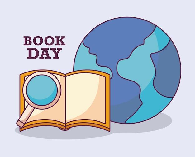Jour du livre international avec la planète terre