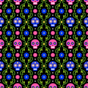 Jour du modèle sans couture mort avec des crânes colorés et des fleurs sur fond sombre. conception mexicaine traditionnelle de halloween pour la fête de vacances de dia de los muertos. ornement du mexique.