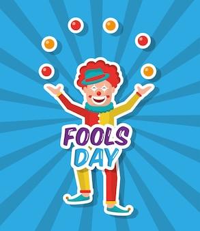 Le jour du poisson d'avril s'amuse un boules de jonglage de clown