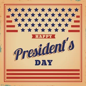 Jour du président du drapeau des états-unis vintage