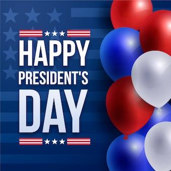Jour du président avec fond d'écran de ballons réalistes