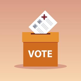 Jour du scrutin, bulletin de vote dans une boîte en carton