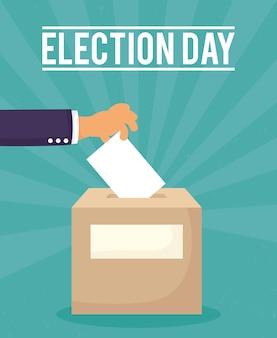 Jour du scrutin avec carte d'insertion de main de vote dans la boîte