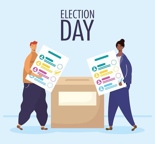 Jour de l'élection avec couple interracial soulevant des cartes de vote en boîte