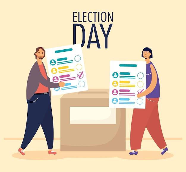 Jour de l'élection avec couple soulevant des cartes de vote en boîte