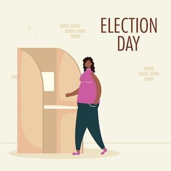 Jour de l'élection avec une femme afro dans la cabine de vote