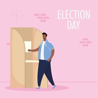 Jour de l'élection avec un homme afro dans la cabine de vote