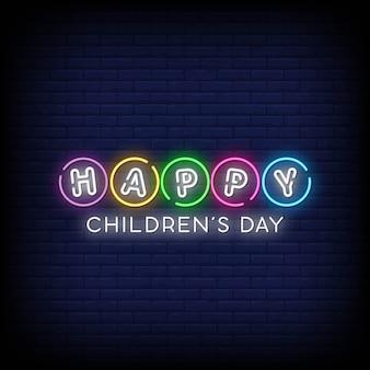 Jour des enfants heureux néon signe style texte vecteur