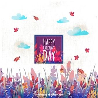 Le jour des enfants heureux avec les papillons et les coccinelles