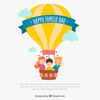 Jour de la famille heureuse dans un style dessiné à la main