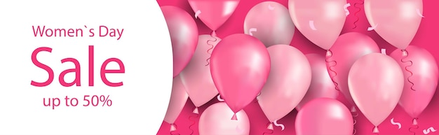 Jour de la femme 8 mars célébration de vacances shopping vente concept affiche de carte de voeux ou un dépliant avec illustration horizontale