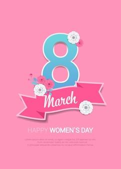 Jour de la femme 8 mars concept de célébration de vacances lettrage affiche de carte de voeux ou illustration verticale de dépliant
