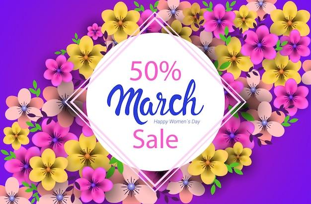 Jour de la femme 8 mars vacances célébration concept affiche de carte de voeux ou un dépliant avec illustration horizontale de fleurs