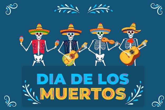 Jour de la fête des morts. dia de los muertos. les squelettes peints jouent des instruments de musique et dansent.