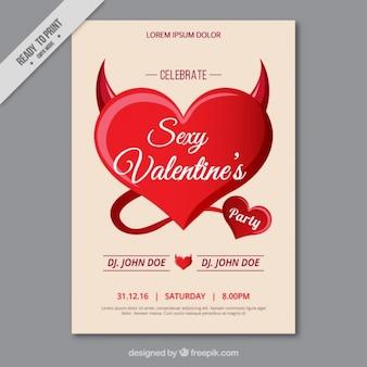 Jour flyer de la saint-valentin avec le coeur rouge