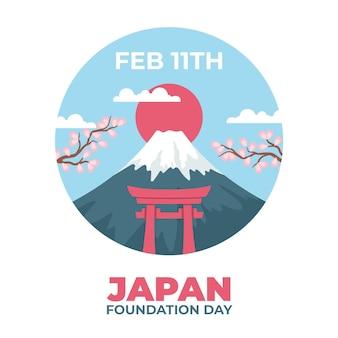 Jour de la fondation dessiné à la main (japon)