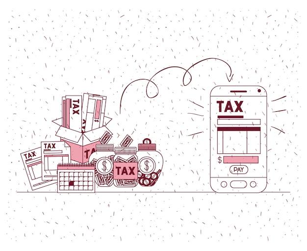 Jour de l'impôt défini des icônes
