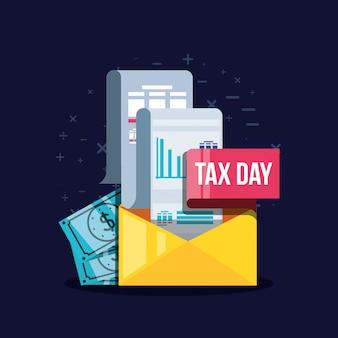Jour d'impôt avec enveloppe postale