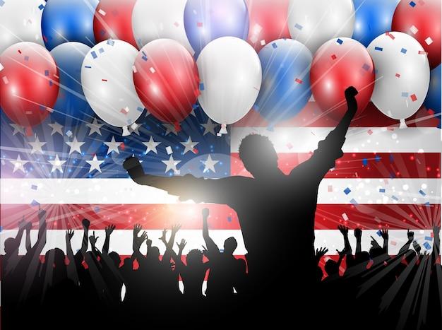 Jour de l'indépendance 4 juillet fond de célébration avec des ballons et des confettis