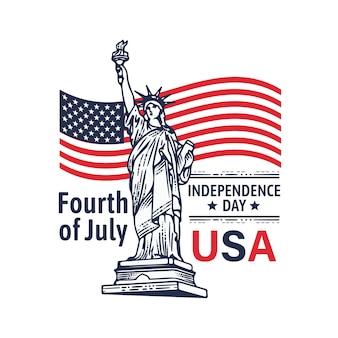 Jour de l'indépendance 4 juillet handrawn