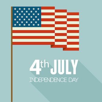 Jour de l'indépendance américaine. design plat