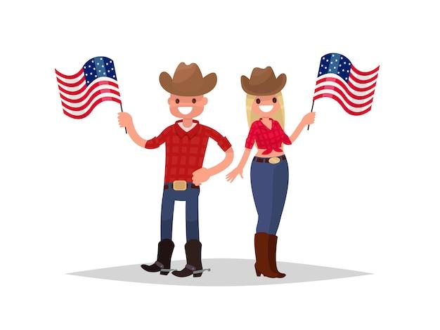 Jour de l'indépendance américaine. un homme et une femme vêtus de costumes nationaux tiennent des drapeaux américains.