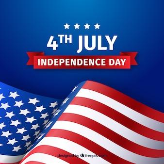 Jour de l'indépendance avec drapeau américain agitant