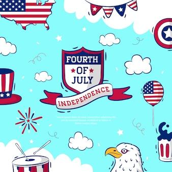 Jour de l'indépendance du 4 juillet dessiné à la main