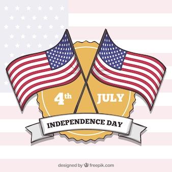 Jour de l'indépendance du 4 juillet fond avec des drapeaux