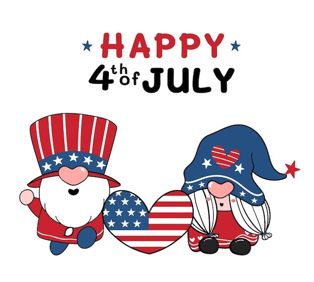Jour de l'indépendance du 4 juillet gnome américain mignon