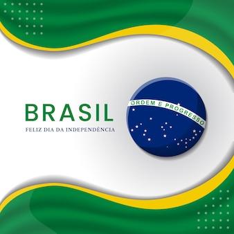 Jour de l'indépendance du brésil illustration avec la conception du drapeau artistique