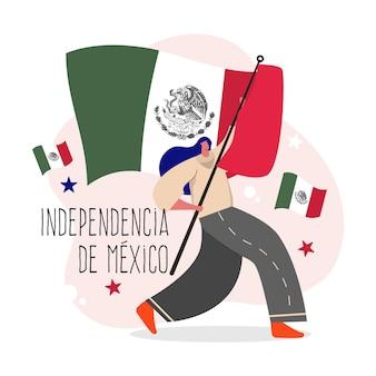 Jour de l'indépendance du design plat du mexique