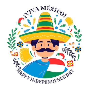 Jour de l'indépendance du mexique dessiné à la main