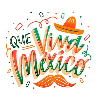 Jour de l'indépendance du mexique lettrage coloré