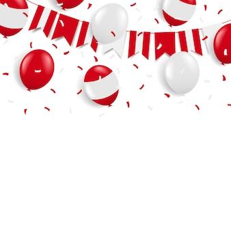 Jour de l'indépendance du pérou. guirlande avec le drapeau et les ballons.